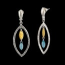 Gurhan Marquise geo Willow Bloom drop earring in sterling silver layered with 24K gold. Featuring London blue topaz marquise faceted beads and mini willow hanging inside. Wheat top with post. 2 1/8'' total length.