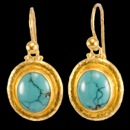 A beautiful pair of Gurhan Chinese Turquise Earrings. Made in 24K gold; hook with granulation, tiny granulations on link. The Chinese Turquise measures 12x10mm