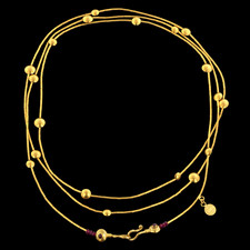Gurhan 24k yellow gold strand Lentil Rain necklace