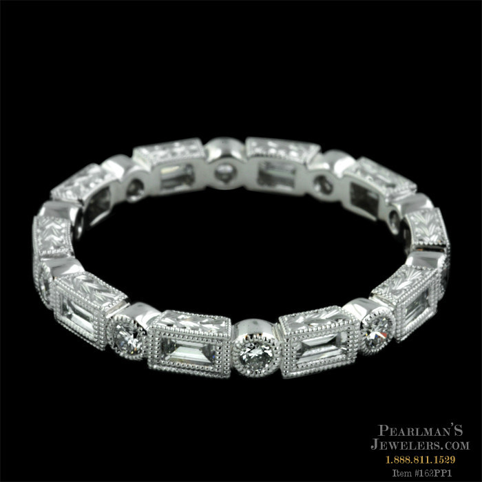 ring baguette ct band eternity edge platinum polished pn milgrain cut bands diamond more views