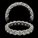 A stunning platinum and diamond shared prong eternity ring from the Pearlman's Bridal Collection. This ring is set with 3.00ct in ideal cut, F color, VS clarity diamonds.