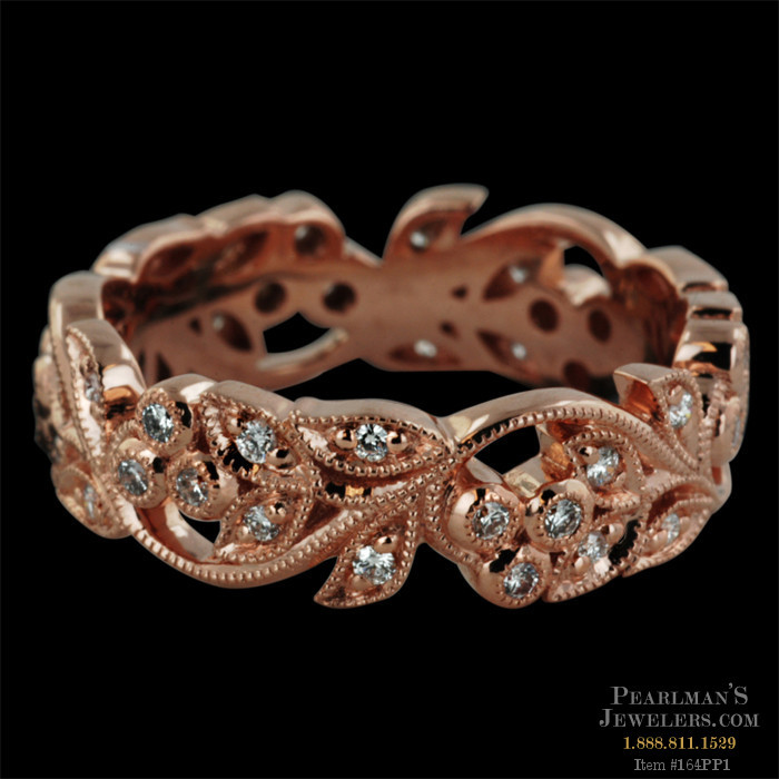 Beverley K 18kt Rose Gold Diamond Filigree Band