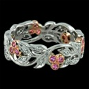 Beautiful crafted floral  Beverley K wedding band in 18kt white gold. The pink sapphires are surrounded by milgrain accent 18kt rose gold with diamonds along the leafs. The Ring has a width is 5.8m