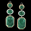 "A stunning pair of green onyx earrings from Bellarri. The signiture ""B"" has two diamonds in each center that have a total carat weight of approximently 0.15. The earrings measure 60mm x 21mm."