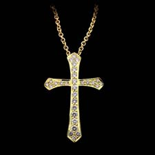 Honora 18kt yellow gold and diamond cross pendant set with .45ctw in diamonds.