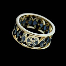 18kt yellow gold 9-diamonds for .045cts blue and white enamel ring.
