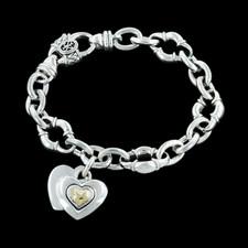 Scott Kay Sterling Silver 18k Heart Rolo Chain Bracelet