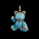 A beautiful 18kt gold blue and pin enameled bear charm with diamond eyes. The piece measures 7/8''. The arms, legs, and head move.  The best! Made in the USA  Available in a 1 1/8' size.