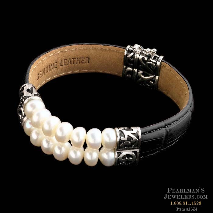 sterling silver double row pearl bracelet with black leath. Black Bedroom Furniture Sets. Home Design Ideas
