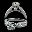 Platinum Scott Kay engagement ring with 0.64 ctw. of channel set princess diamonds and 2 small surprise diamonds. The double prongs accommodate a 1.0ct. center stone, not included. Ask about other center diamond sizes available.