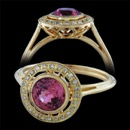 A breathtaking yellow gold creation in 18 karat yellow gold from Beverley K. This ring features a rich pink sapphire center stone (sold separately) surrounded by a halo of diamonds,weighing .10ct. tw. Delicate wire work and ridged shank complete the vintage look.