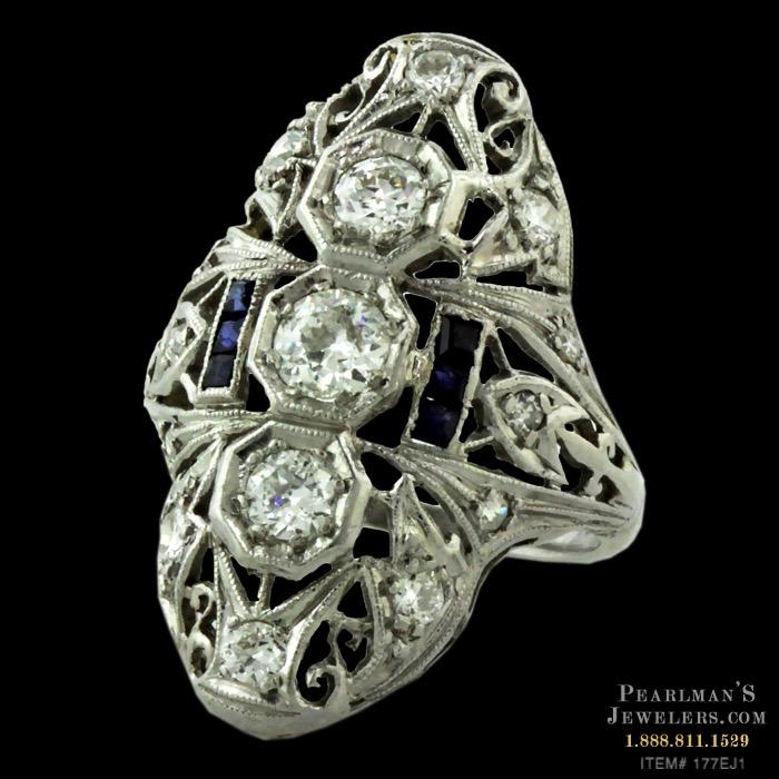 f3c0e00950d36 Estate Jewelry Art Deco Diamond And Sapphire Ring