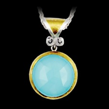 A beautiful Oceanic Noble two-tone stone pendant necklace in sterling silver layered with 24K gold featuring. The measurements are 25mm for the chalcedony and 18