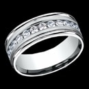 A stylish 14k gold man's diamond wedding band The total carat weight of the diamonds is 0.96ctw. The diamonds are set in a channel setting with 12 round diamonds that go half way around the band. Each diamond is 0.08 carats. This ring is 8mm in width, but can be made in a6mm and 7mm width. The price is for a size 10, but can be made in other sizes. Price may vary depending on finger size.