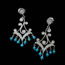 Cathy Carmendy platinum and diamond moulin chandelier earrings with turquoise and .68ctw. in diamonds.