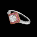 Designed by Beverley K, this stunning 18k white and rose gold engagement ring features  pave' of white and pink sapphire. The ring has engraved surfaces on the band. The edges are milgrained. Center stone not included. Price is for mounting only.