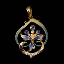 Nouveau Collection Blue sapphire and diamond pendant