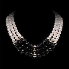 Robert Golden Black onyx and sterling silver pearl necklace