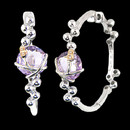 "A uniquely designed Amethyst earrings from Bellarri. The total carat weight of the Amethyst is 11.75. Bellarri's signature ""B"" is made of 18K gold and has two diamonds in the center, each weight 0.01 carat. The measurements of these earrings are 45mm x 13mm."