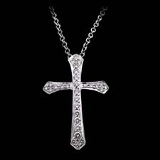 Honora 18kt white gold and diamond cross pendant set with .45ctw in diamonds.
