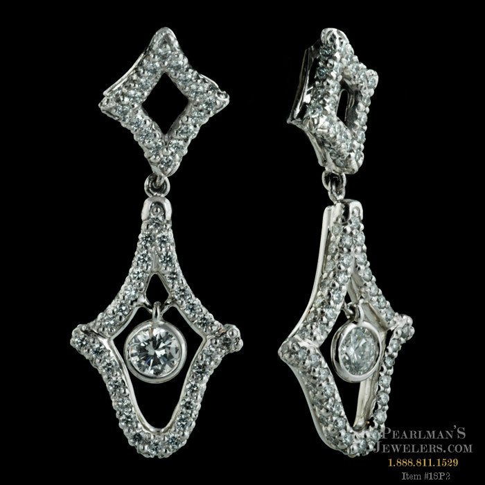 An exquisite pair of diamond and platinum earrings from mi for Michael b s jewelry