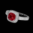 Clean and classic this Beverley K engagement ring sparkles with white diamonds and a ruby center stone. The total diamond weight is 0.52 carats. Price does not reflect center prong set ruby. Please call for full quote. Also available with different center gemstone combinations. This ring also features engraved surfaces and milgrained edges. Available in 18k white gold or platinum. This piece is priced in platinum
