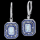 A stunning pair of 18k white gold diamond, sapphire and aquamarine Beverley K earrings. These earrings features an Aquamarine that has a carat weight of 1 carat. Surrounding the Aquamarine, are blue sapphires that have a total carat weight of 1.60 tcw. The diamonds on the earrings have a total carat weight of 0.15. These earring can be made in platinum, as well as rose and yellow gold.