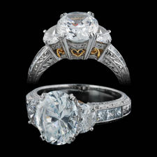 Gorgeous and brilliant Michael Beaudry platinum diamond hand made semi-mount engagement ring with 22k yellow gold gallery work. 1.12ct total side diamonds. shank width is 4.15mm Center stone not included.