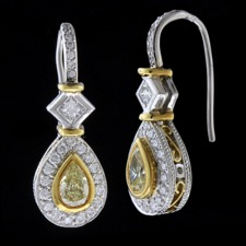 Michael Beaudry Yellow diamond halo earrings