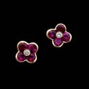 Gumuchian 18kt. yellow gold and ruby flower earrings with diamond accent centers. 7mm x 7mm. See Item No. 11J3 for the matching necklace. These earrings are also available in blue sapphires.