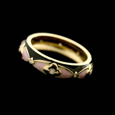 18kt yellow gold black and pink enamel band with bezel set diamonds