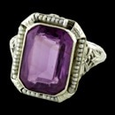A very fine 14kt white gold Amethyst and Seed pearl finger ring.  The piece is of the Art Deco period 1920.  Great condition and shows little wear.  All pearls are intact.  
