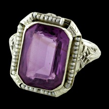 Estate Jewelry 1920s Art Deco Amethyst seed pearl ring
