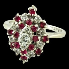Estate Jewelry Ruby and diamond cocktail ring