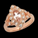 A beautiful diamond halo 18k rose gold Beverley K ring. The center stone is a Morganite that has a weight of 1.10 carats. There are round diamonds around with center with milgrain accents. The total diamond weight is 0.35.  A great rose color that would look great on anyone.