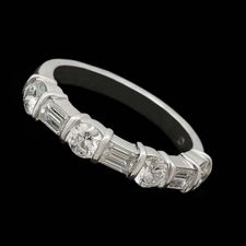 Alexander Primak platinum and diamond wedding ring set with 1.20ctw in alternating baguette and round full-cut diamonds.