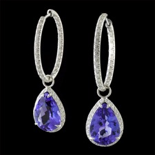 4.20tw RoyalTanzanite Pear Shapes, set in double sided diamond halo,detachable from 19mm Pyramid Set, hinged hoops