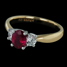 Spark 18k three stone ruby ring