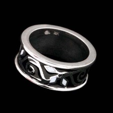 18kt white gold 8mm black and white enamel band