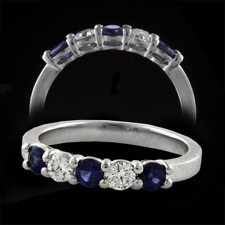 Pearlman's Bridal Sapphire and Diamond band 18kt gold