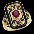 A pretty looking 18k yellow gold pink tourmaline ring from Beverley K. The center stone is a pink tourmaline that has a carat weight of 0.73. the ring features blank onyx stones in a halo setting and on the sides of the ring. This ring is available in 14k gold, 18k gold, and platinum.