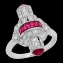 A unique Art Deco inspired red ruby and diamond ring from Beverley K. The ring is made in 18k gold, but can be made in platinum. The total diamond weight is 0.43 tcw. The total carat weight of the rubies are 1.84cw. You will not see any other kind of ring similar to this. This ring was a finalist for Best Colored Stone Ring by the JCK Jewelers Choice Awards 2017.