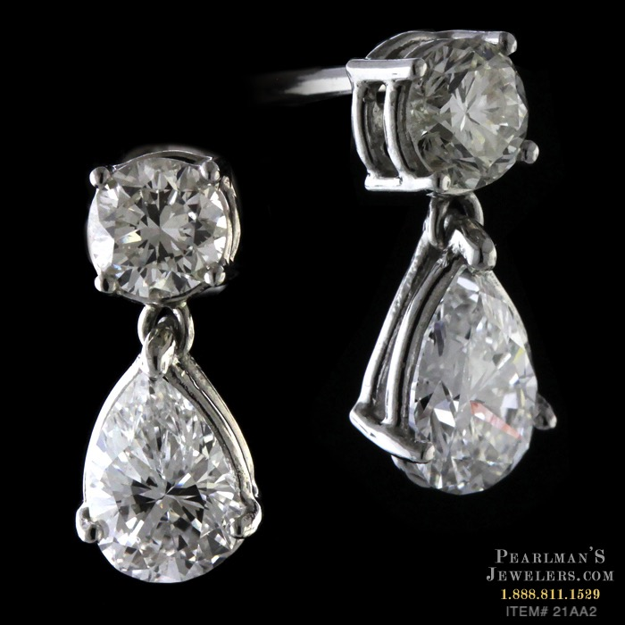 Bridget Durnell Platinum Pear Shaped Diamond Earrings
