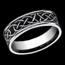 A cool looking cobalt Celtic Knot mens ring. This ring measures 7mm in width and the Celtic design goes around the entire ring. This ring is priced for a size 10, but can be made in other sizes. Price may vary depending on finger size.