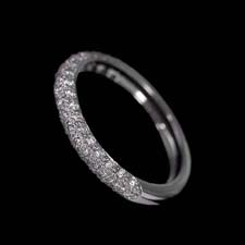 Pearlman's Bridal Platimun rounded pave 1/2 shank wedding band