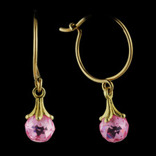Stunning pair of 18kt yellow gold and pink quartz Paul Morelli earrings.  The pink quartz is 5mm.  Also available with 7mm stones and in platinum.  Call for pricing.