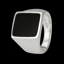 Metalsmiths Sterling Mens sterling silver black onyx ring