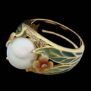 This Nouveau Collection 18kt yellow gold enamel pearl ring comes in several colors.  The pearl is approximately 9mm and has 12 diamonds on the band.