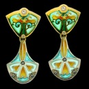A vivid green and blue enameled pair of art nouveau inspired earrings. There are 5 diamond in each of these earrings. The total carat 0.27tcw. These earrings are made of silver and 18k gold.