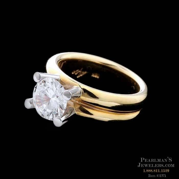 Whitney Boin 18kt Yellow Gold And Platinum 4 Prong Double Band